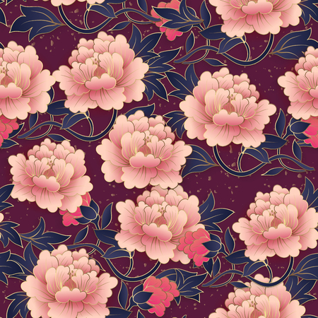Chinese elegant botanic garden pink purple peony flower seamless pattern background. Idea for greeting card, web banner design.