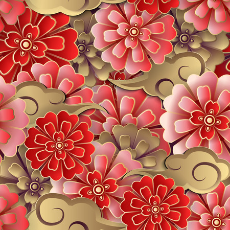 Chinese pink red gold flower and spiral cloud seamless pattern background. Idea for greeting card, web banner design.