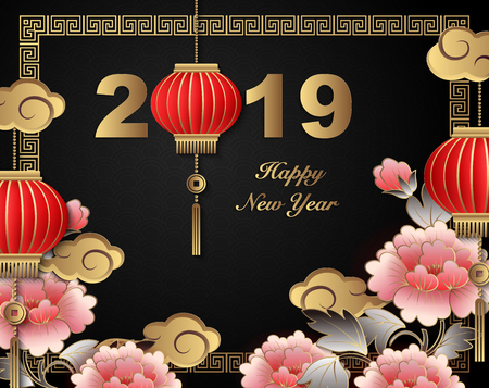 Happy Chinese new year 2019 retro gold relief peony flower lantern and lattice frame