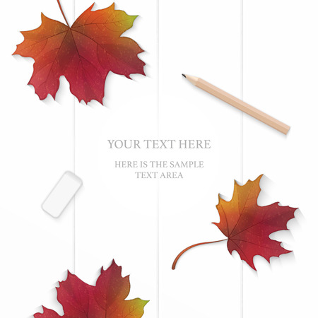 Flat lay top view elegant white composition paper red autumn maple leaf and pencil eraser on wooden background. Illustration
