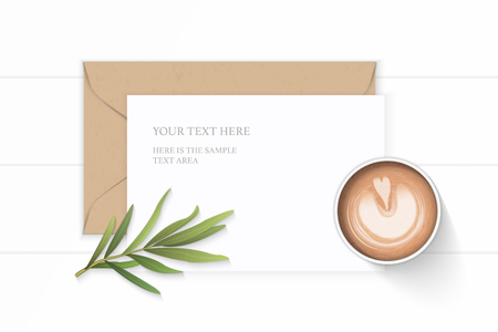 Flat lay top view elegant white composition letter kraft paper envelope coffee and tarragon leaf on wooden background.