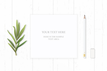 Flat lay top view elegant white composition paper pencil eraser and tarragon leaf on wooden background.
