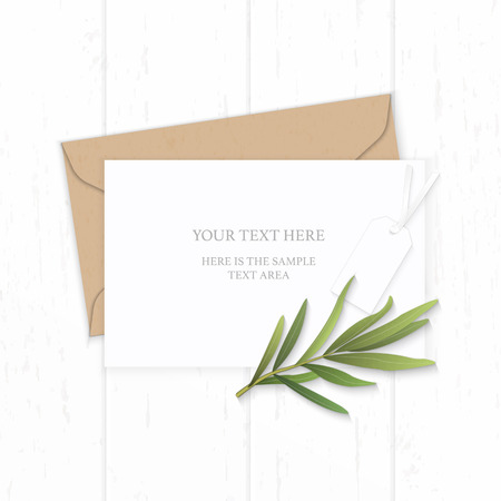 Flat lay top view elegant white composition letter kraft paper envelope tarragon leaf and taag on wooden background.