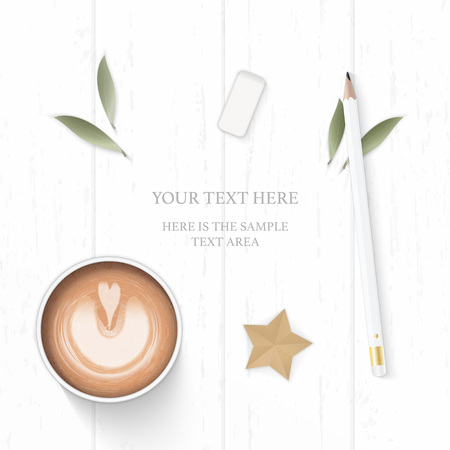Flat lay top view elegant white composition paper leaf pine cone pencil eraser coffee and star craft on wooden background.