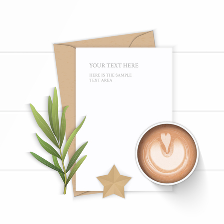 Flat lay top view elegant white composition letter kraft paper envelope leaf coffee tarragon leaf and star shape craft on wooden background.