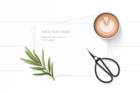 Flat lay top view elegant white composition paper nature tarragon leaf coffee pencil and vintage metal scissors on wooden background.