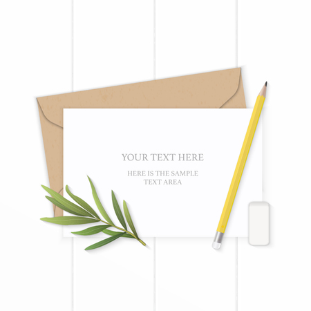 Flat lay top view elegant white composition letter kraft paper envelope yellow pencil tarragon leaf and eraser on wooden background. Ilustracja