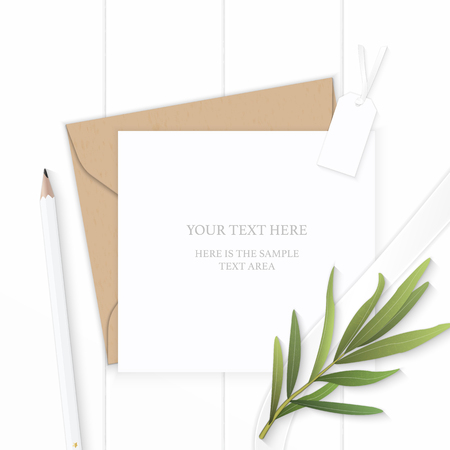 Flat lay top view elegant white composition letter kraft paper envelope pencil tag and tarragon leaf on wooden background.