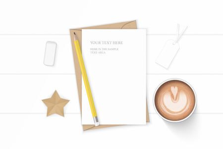 Flat lay top view elegant white composition letter kraft paper envelope coffe pencil star craft and eraser on wooden background.