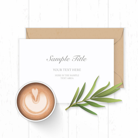 Flat lay top view elegant white composition paper kraft envelope tarragon leaf and coffee on wooden background.