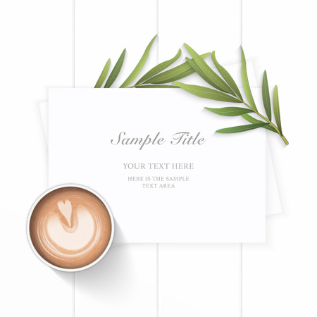Flat lay top view elegant white Christmas composition paper tarragon leaf and coffee on wooden background.