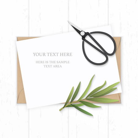 Flat lay top view elegant white composition paper kraft envelope tarragon leaf and vintage metal scissors on wooden background.