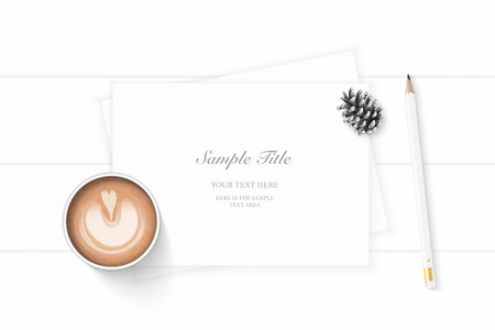 Flat lay top view elegant white composition paper pine cone pencil and coffee on wooden background. Ilustração