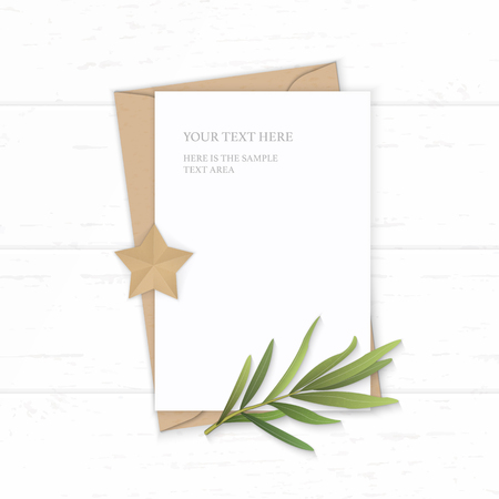 Flat lay top view elegant white composition letter kraft paper envelope tarragon leaf and star shape craft on wooden background.