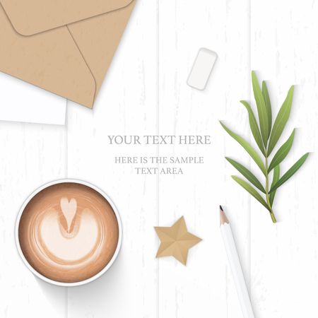 Flat lay top view elegant white composition paper leaf pine cone pencil eraser coffee tarragon leaf and star craft on wooden background. Vettoriali