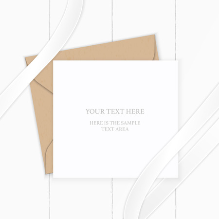 Flat lay top view elegant white composition letter kraft paper envelope and silk ribbon on wooden background. Stock Illustratie