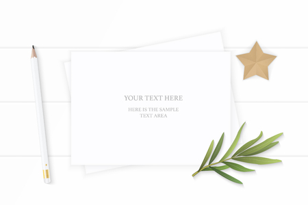 Flat lay top view elegant white composition paper pencil eraser tarragon leaf and star shape craft on wooden background.