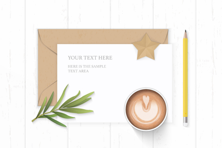 Flat lay top view elegant white composition letter paper kraft envelope star shape craft coffee tarragon leaf and yellow pencil on wooden background. Ilustracja