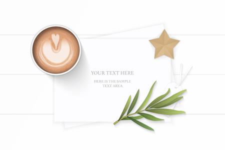 Flat lay top view elegant white composition paper plant leaf and star shape craft tarragon leaf and coffee on wooden background. Ilustracja