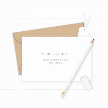 Flat lay top view elegant white composition letter kraft paper envelope pencil eraser and tag on wooden background. Çizim