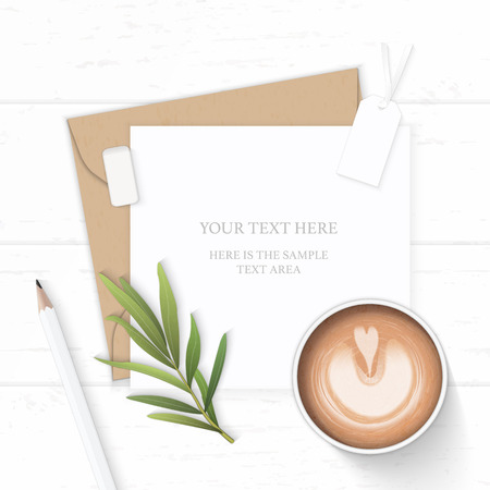 Flat lay top view elegant white composition letter kraft paper envelope pencil tag eraser tarragon leaf and coffee on wooden background.