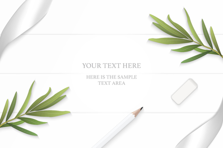 Flat lay top view elegant white composition silver ribbon pencil eraser tarragon leaf on wooden floor background.
