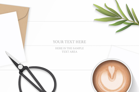 Flat lay top view elegant white composition letter kraft paper envelope tarragon leaf metal scissors and coffee on wooden background.