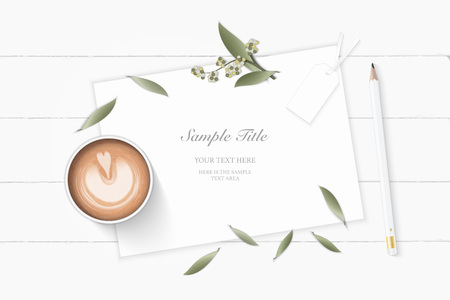 Flat lay top view elegant white composition paper botanic garden plant leaf flower pine cone tag pencil and coffee on wooden background. Ilustração