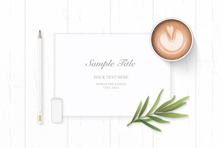 Flat lay top view elegant white composition paper pencil eraser tarragon leaf and coffee on wooden background.