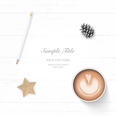 Flat lay top view elegant white Christmas composition paper pine cone pencil coffee and star shape craft on wooden background. Ilustração