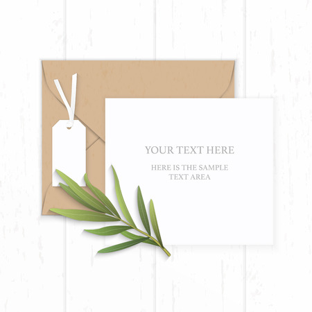 Flat lay top view elegant white composition paper brown kraft envelope tag and tarragon leaf on wooden background. Stock Illustratie