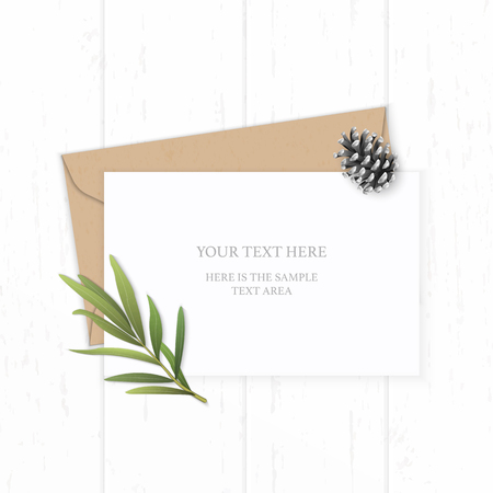 Flat lay top view elegant white composition letter kraft paper envelope pine cone tarragon leaf on wooden background.