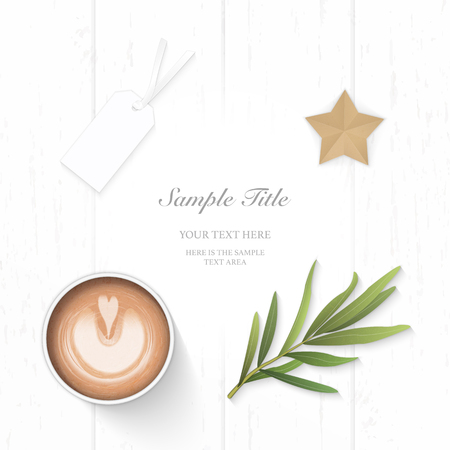 Flat lay top view elegant white composition paper yellow pencil tag star craft tarragon leaf and coffee on wooden background.