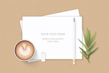 Flat lay top view elegant white composition paper pencil eraser tarragon leaf and coffee on kraft background.