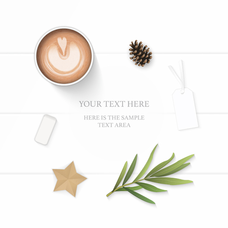 Flat lay top view elegant white composition paper leaf pine cone pencil eraser tag star craft coffee and tarragon leaf on wooden background. Vettoriali