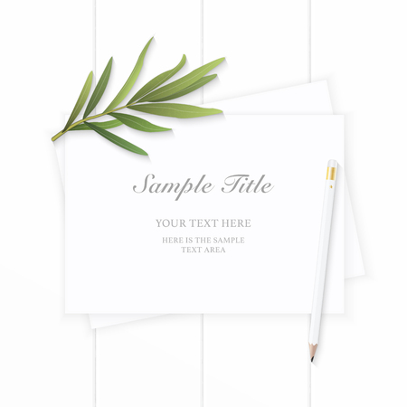 Flat lay top view elegant white composition paper tarragon leaf and pencil on wooden background.