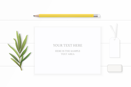 Flat lay top view elegant white composition paper yellow pencil eraser tag and tarragon leaf on wooden background.