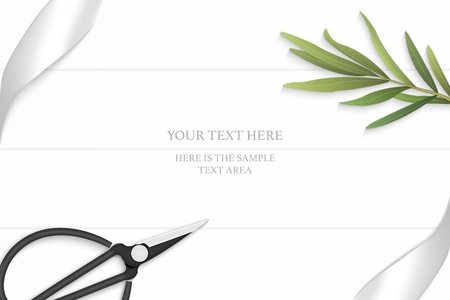 Flat lay top view elegant white composition silver ribbon tarragon leaf and vintage metal scissors on wooden floor background. Illustration