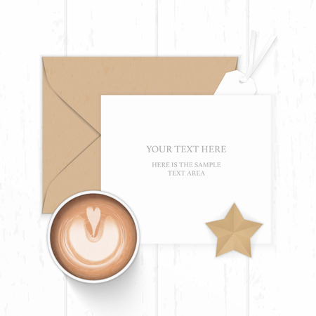 Flat lay top view elegant white composition paper brown kraft envelope star shape craft tag and coffee on wooden background.