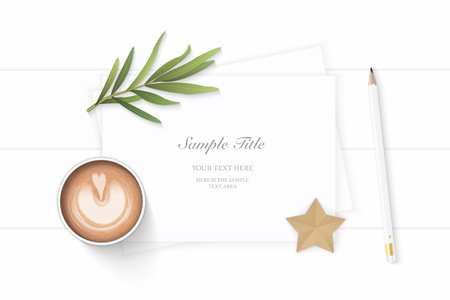 Flat lay top view elegant white composition paper pine cone pencil tarragon leaf and coffee on wooden background.