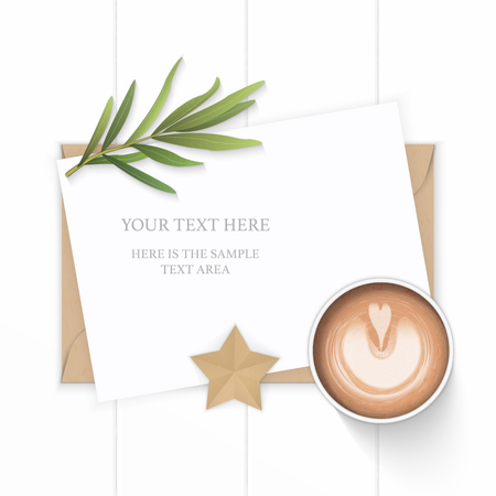 Flat lay top view elegant white composition paper kraft envelope star shape craft tarragon leaf and coffee on wooden background. Ilustracja