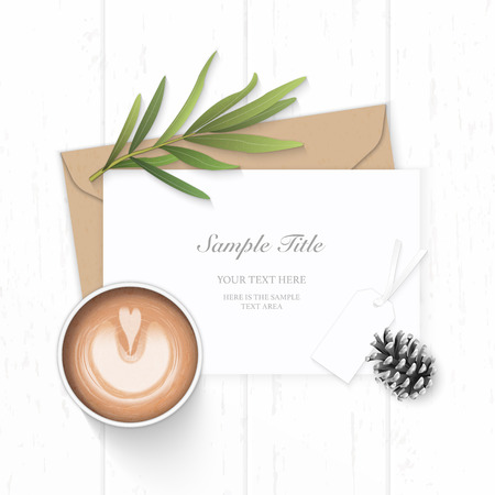 Flat lay top view elegant white composition letter kraft paper envelope pine cone tarragon leaf tag and coffee on wooden background.