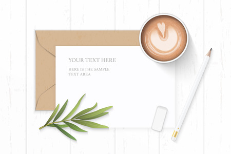 Flat lay top view elegant white composition letter kraft paper envelope coffee tarragon leaf and pencil eraser on wooden background.