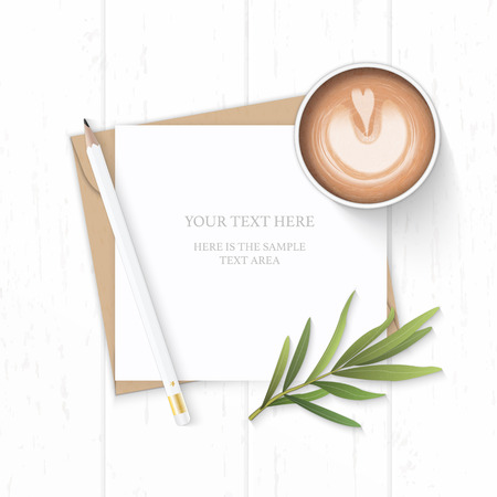 Flat lay top view elegant white composition letter kraft paper envelope nature tarragon leaf pencil and coffee on wooden background.