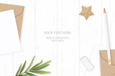 Płaski świecki widok z góry elegancki biały skład list papier pakowy koperta liść estragonu ołówek gumka i rzemiosło kształt gwiazdy na tle drewnianych. Ilustracje wektorowe