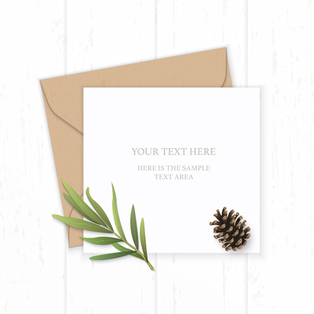 Flat lay top view elegant white composition letter kraft paper envelope tarragon leaf and pine cone on wooden background.