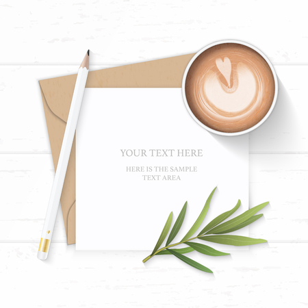 Flat lay top view elegant white composition letter kraft paper envelope pencil tarragon leaf and coffee on wooden background.