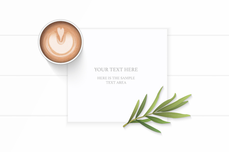 Flat lay top view elegant white composition paper brown tarragon leaf and coffee on wooden background.