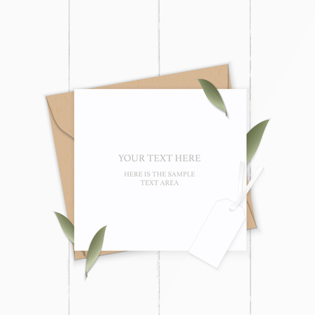 Flat lay top view elegant white composition letter kraft paper envelope nature leaf and tag on wooden background.