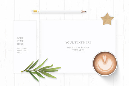 Flat lay top view elegant white composition paper pencil coffee tarragon leaf and star shape craft on wooden background. Ilustracja